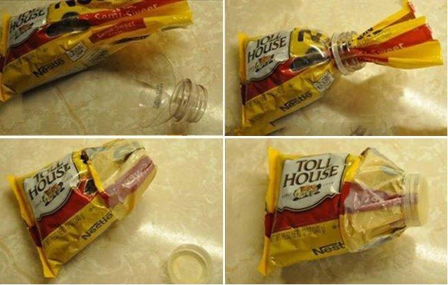 bolsa sellada con pico de botella de plástico