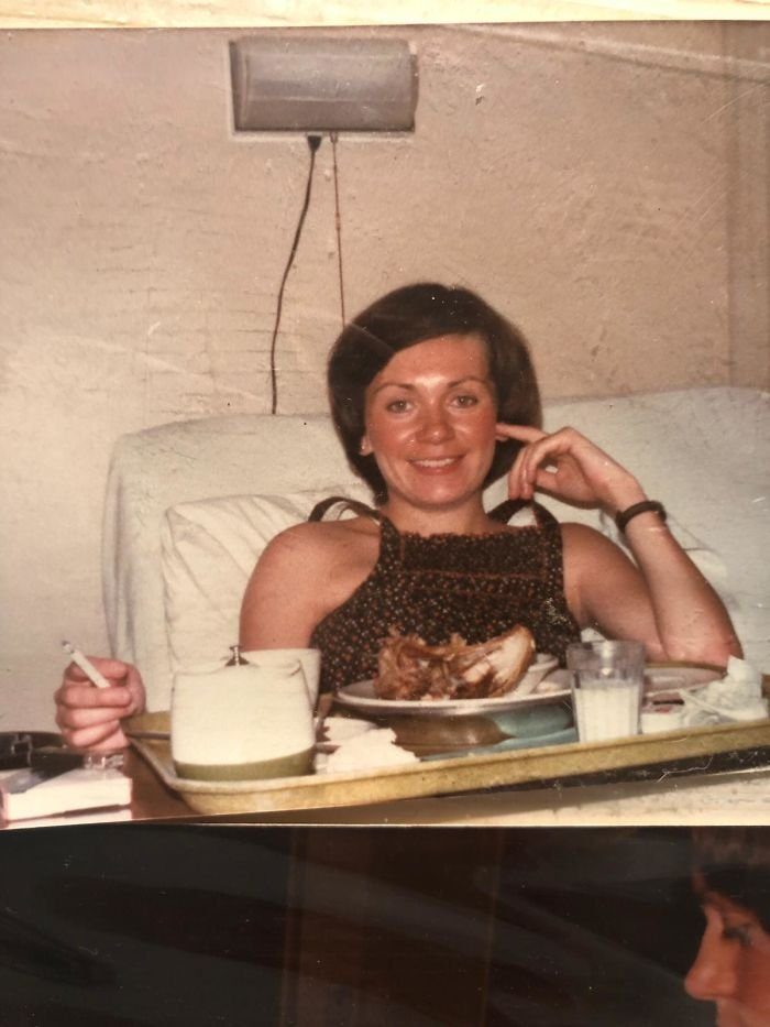 My Mom In The Hospital After Giving Birth To My Sister. Canada 1978. Smokes And Roasted Chicken
