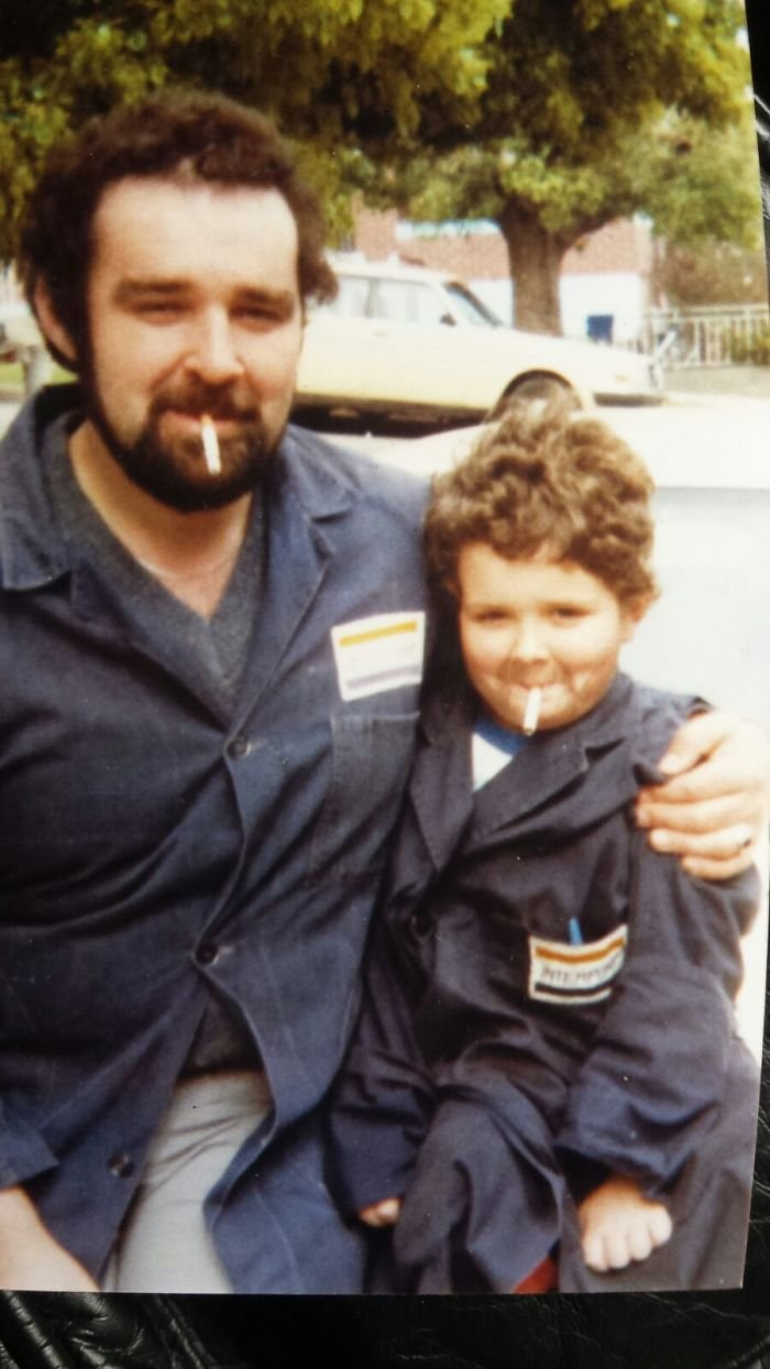 A Photo Of Me Dressed Up As My Dad, With My Dad (1982)