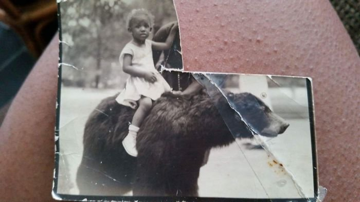 My Mother-In-Law Riding A Bear At 2 Years Old