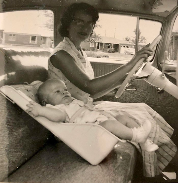 Car Seat Safety In 1958. Not Strapped In To Anything, These Seats Relied On The Mother To Put Her Arm Out And Stop The Baby From Falling Forward