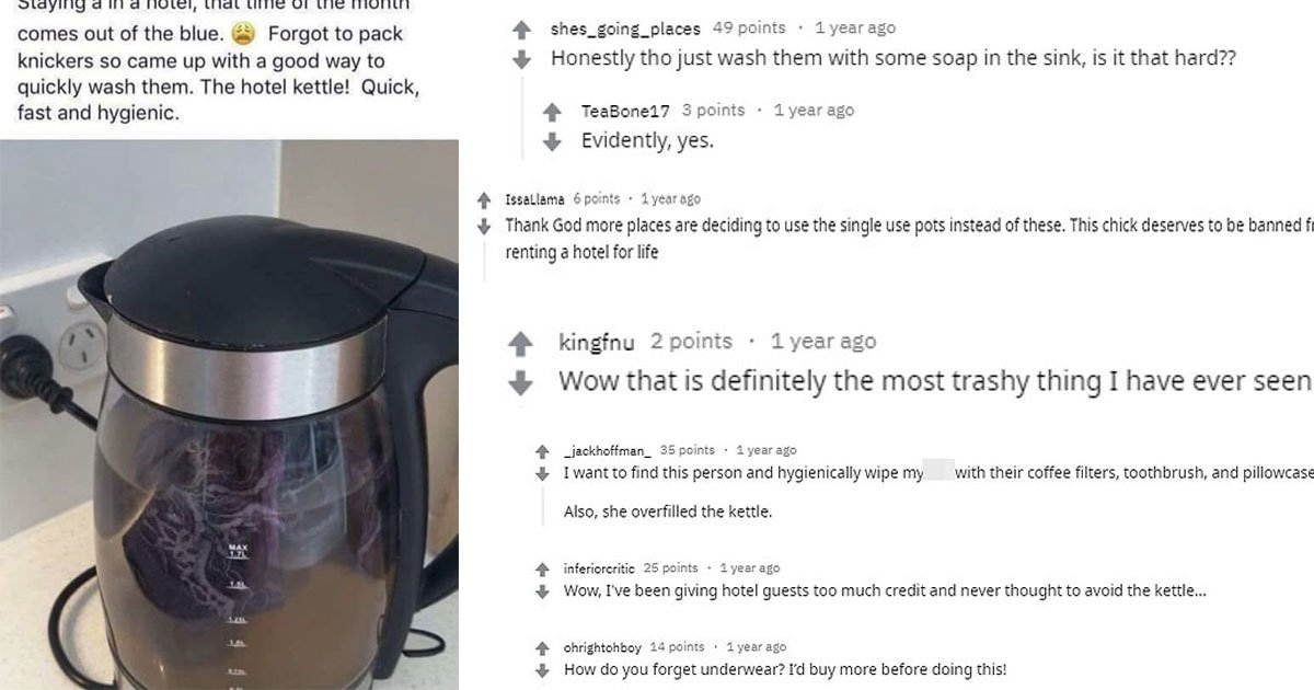 a woman washed her period stained knickers in a hotel kettle and people branded her trashy.jpg?resize=412,232 - This Woman Shared That Washing Stained Underwear In A Hotel Kettle Is A 'Fast And Hygienic' Method