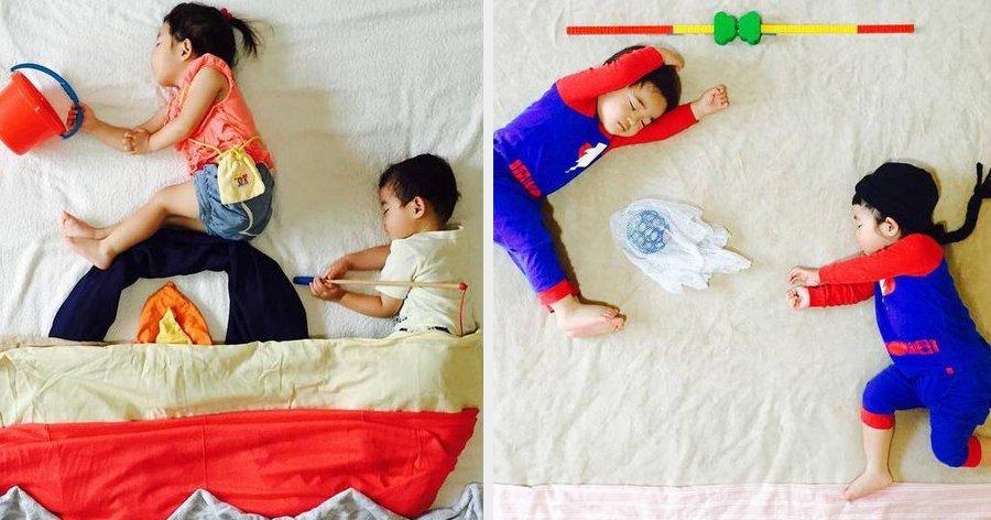 a6 18.jpg?resize=412,275 - Mãe usa a criatividade e cria aventuras para seus filhos gêmeos enquanto eles dormem