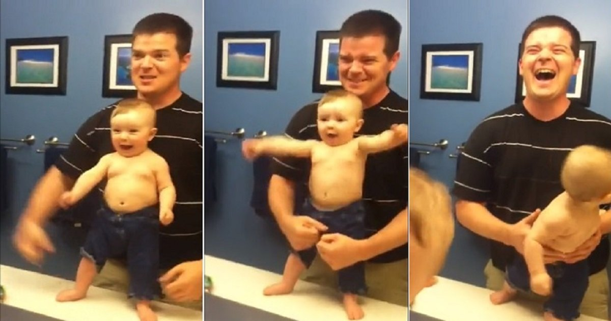 b4 1.jpg?resize=412,232 - A Baby Adorably Mimicked Her Dad As They Flex Their Muscles In Front Of The Mirror