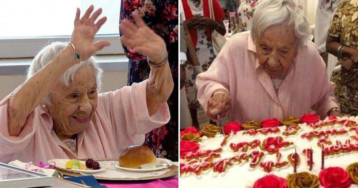 bday6.png?resize=412,232 - Une femme qui vient de célébrer son 107e anniversaire partage son secret pour vivre une vie longue et heureuse