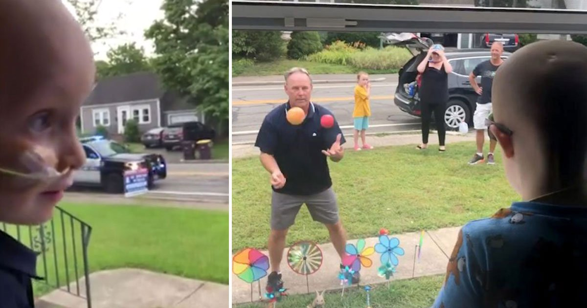 boy with cancer.jpg?resize=412,232 - Man Showed Up At The Front Yard To Entertain A Child Who Is In Isolation During Cancer Treatment