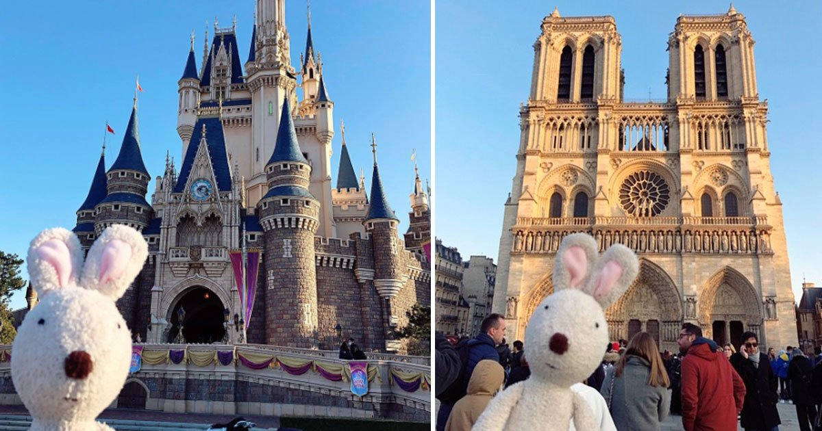 bunny otter landmark pictures.jpg?resize=1200,630 - Adorable Bunny Shares His Holiday Pictures Taken In Front Of Iconic Landmarks On His Instagram