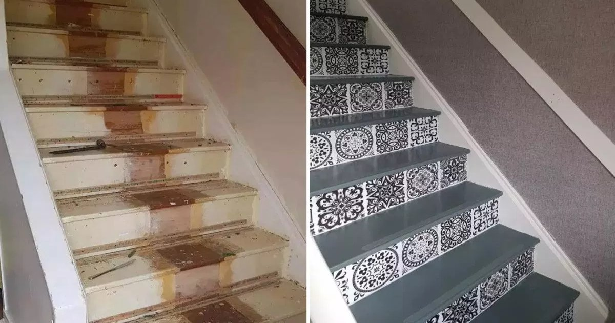 featured image 14.png?resize=1200,630 - DIY Mom Transformed Her 'Tired And Overused' Staircase With Paint And Vinyl Stickers For Just $80