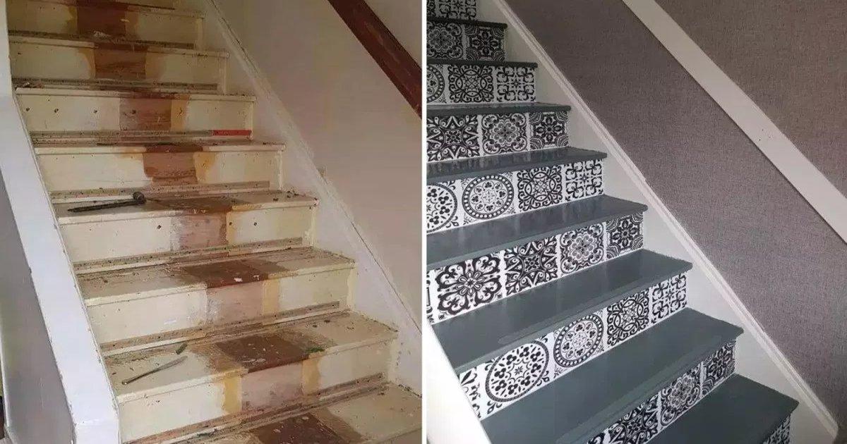 featured image 14.png?resize=412,232 - Une femme créative a transformé son escalier en mauvais état avec un peu de peinture et des autocollants