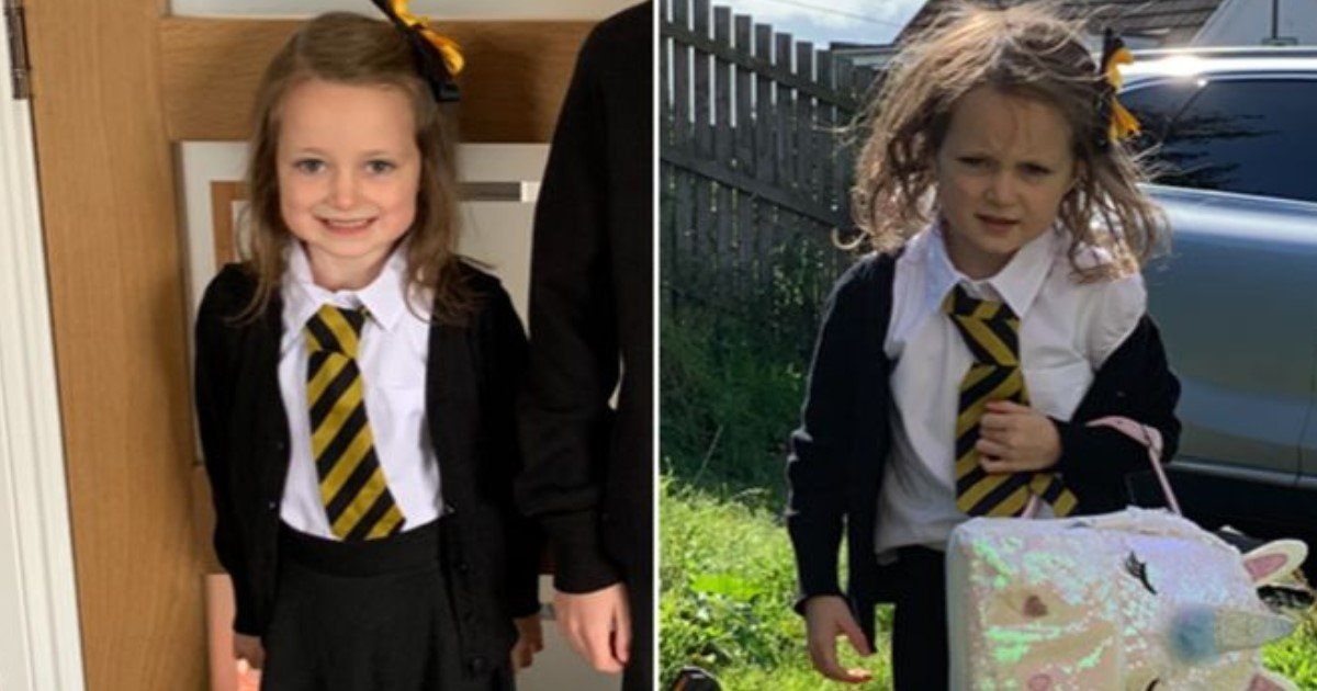 featured image 52.jpg?resize=1200,630 - A Hilarious Before-And-After Picture Of A 5 Year Old Girl's First Day Of School