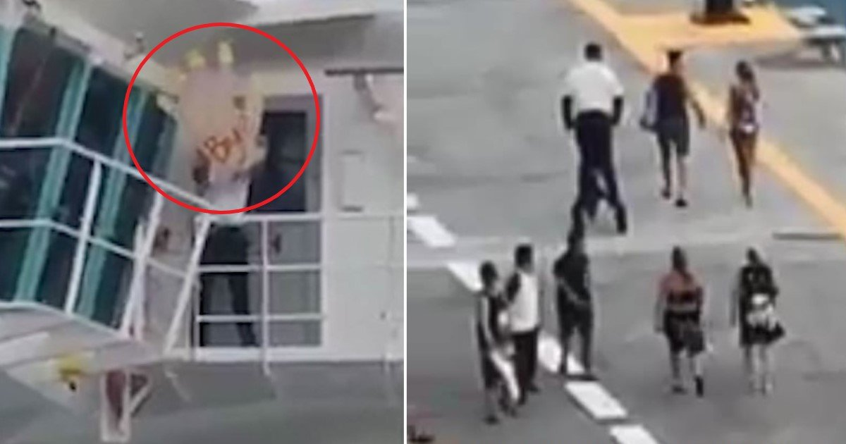 featured image 8.jpg?resize=412,232 - A Cruise Staff Member Supposedly Waved A Massive 'Bye' Sign To The Couple Who Arrived Late