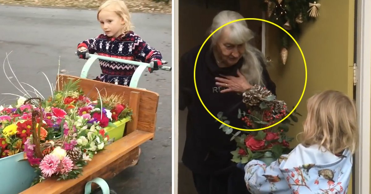 This Cute Girl Collect Overdue Flowers And Present Bouquets