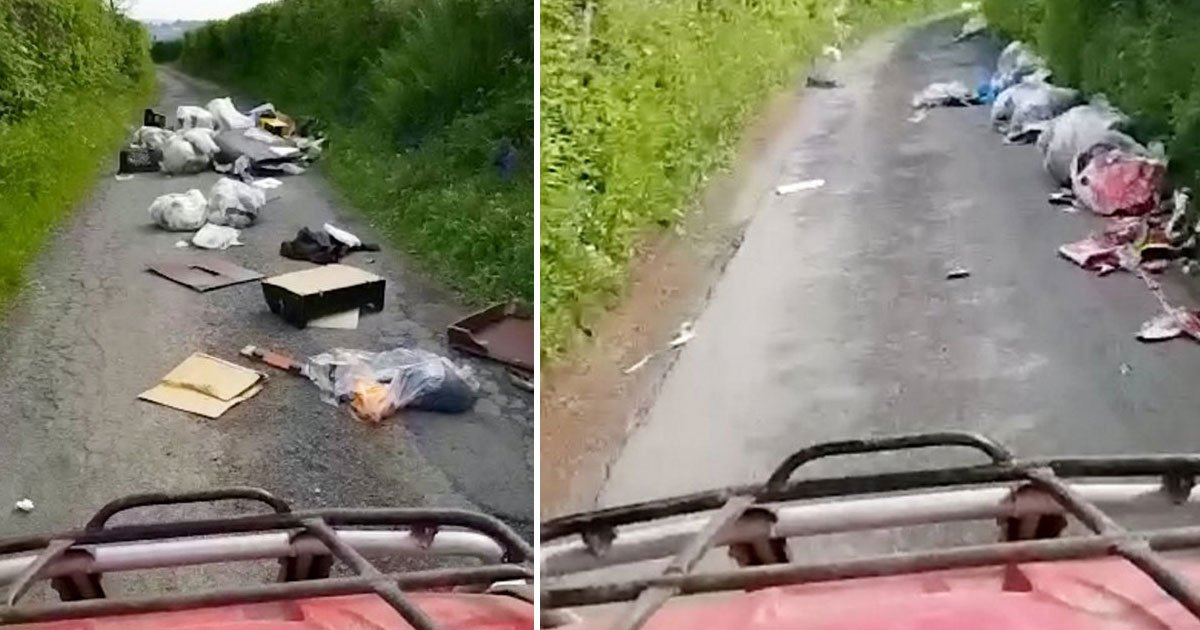 fly tipped rubbish road.jpg?resize=412,232 - Motorist Shared A Video Of Fly-Tipped Rubbish Scattered On A Mile-Long Road