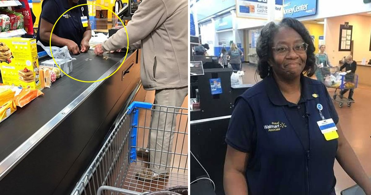 """fsdfsf.jpg?resize=412,232 - Walmart Cashier Spreads Love By Helping An Elderly Man Counting Change At Checkout: """"It's Not A Problem Honey"""""""
