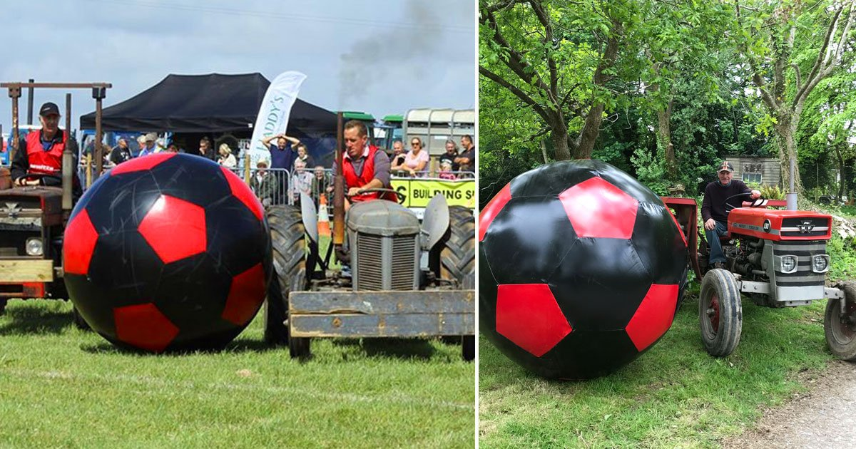 giant football game.jpg?resize=1200,630 - A Group Of Farmers Used Their Old Tractors To Play A Giant Game Of Football