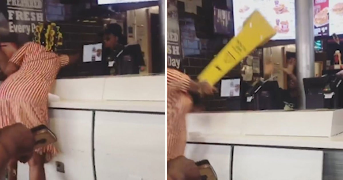 kfc brawl.jpg?resize=412,232 - Woman In Hair Rollers Attacked A KFC Worker In Brixton