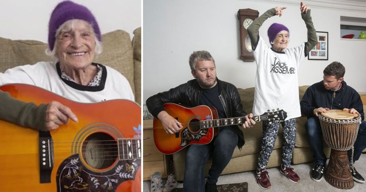 oldest groupie.jpg?resize=412,232 - 92-Year-Old Woman Plans To Follow Her Favourite Rock Band On Tours Until She Dies