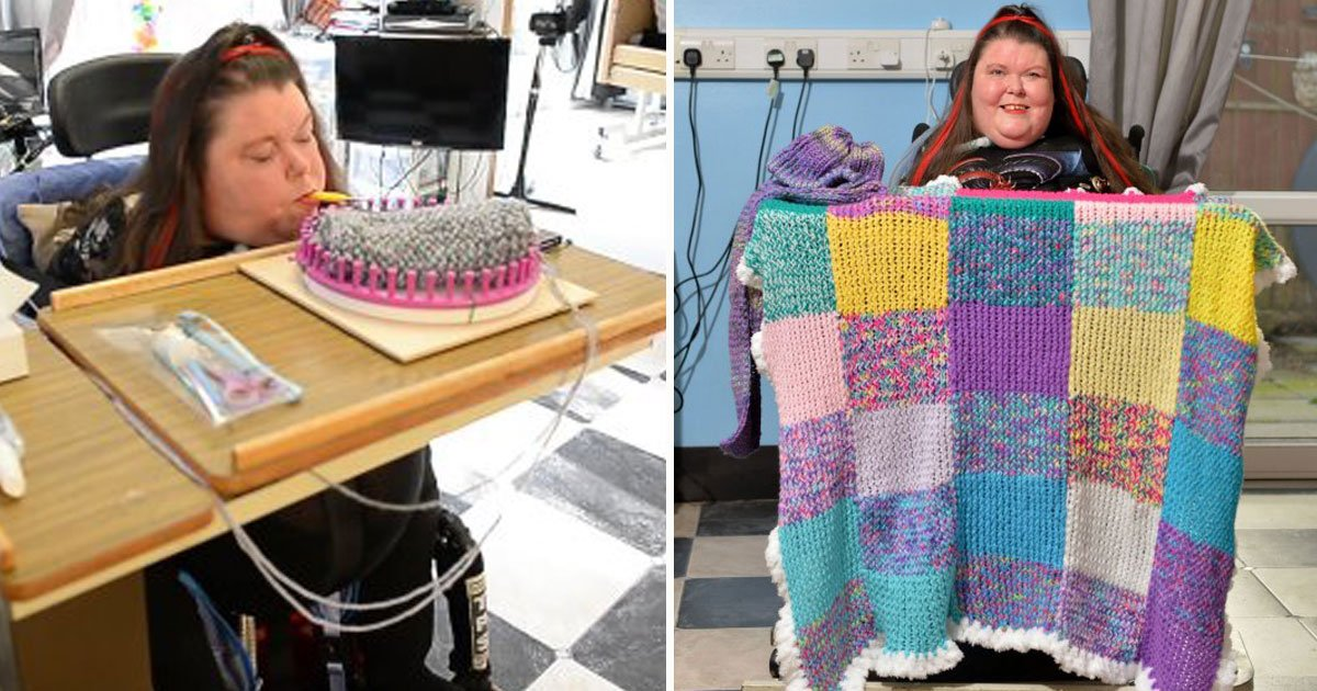 paralysed woman knit mouth.jpg?resize=412,232 - Une jeune femme qui est paralysé à partir du cou parvient à tricoter avec la bouche