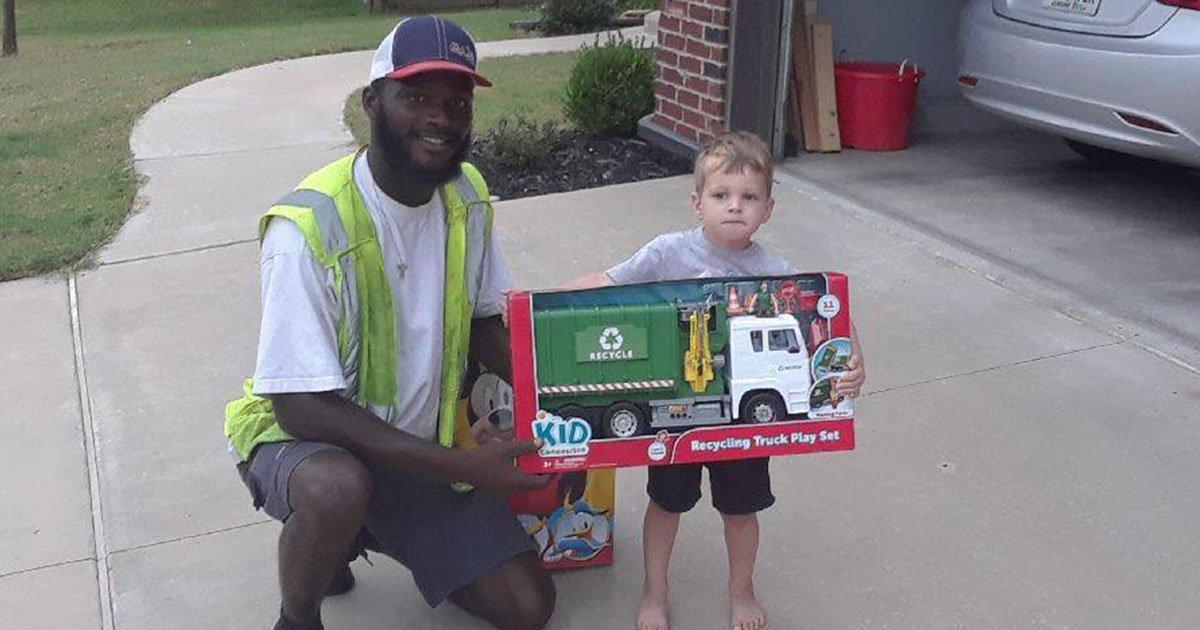 sanitation worker gifted toy recycle truck to boy who greets them every day during their route.jpg?resize=1200,630 - Un employé de ville a offert un camion-poubelle en jouet au garçon qui le saluait tous les jours
