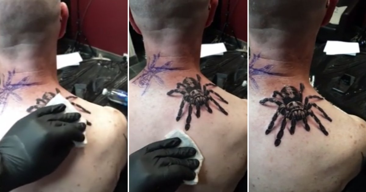 t 3.png?resize=1200,630 - Man's Hyperrealistic Tattoo of A Tarantula Scares Everyone That Sees It
