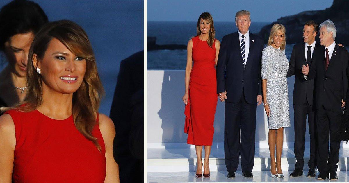untitled 1 108.jpg?resize=1200,630 - Melania Trump est éblouissante au sommet du G7 dans une robe Alexander McQueen sans manches d'une valeur de 2150€