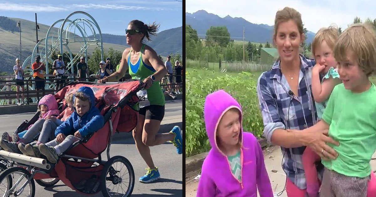 untitled 1 50.jpg?resize=412,232 - A Mom Broke The Marathon Record While Pushing A Three-Person Stroller