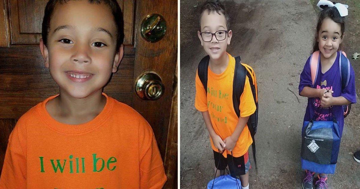 untitled 1 55.jpg?resize=412,232 - Un garçon de 6 ans portait un t-shirt avec le message le plus mignon lors de son premier jour d'école