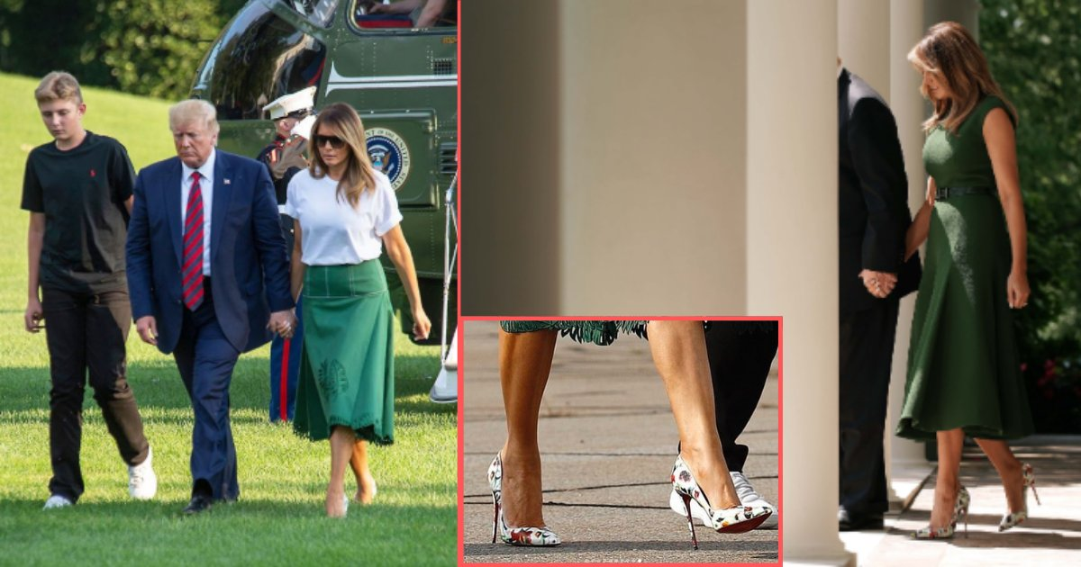 untitled design 7 10.png?resize=412,232 - Bonafide Fashionista Melania Trump Was Spotted in Sky-High Heels with A Casual Outfit