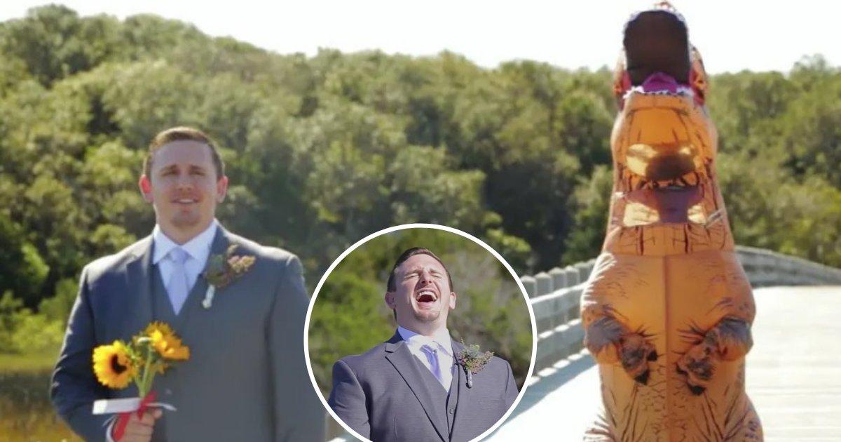 untitled design 81.png?resize=412,232 - Une mariée s'habille en T-Rex pour surprendre son mari le jour de leur mariage