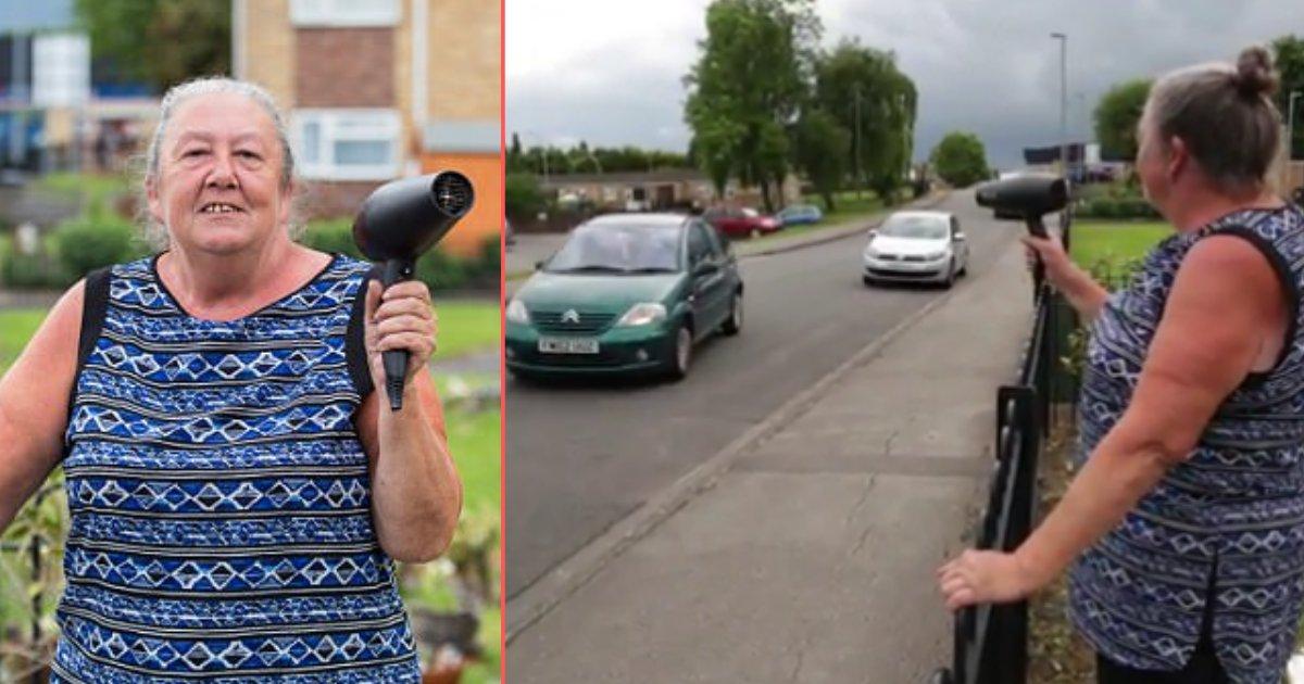 y 2 1.png?resize=574,582 - Une grand-mère utilise un sèche-cheveux en guise de radar pour inciter les automobilistes à ralentir