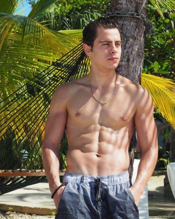 Actor Jake T. Austinrecargado en una palmera mientras disfruta del sol en sus vacaciones