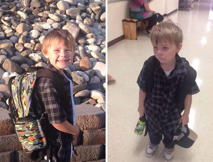 Before And After The First Day Of School. The Future Suddenly Looks Bleak.