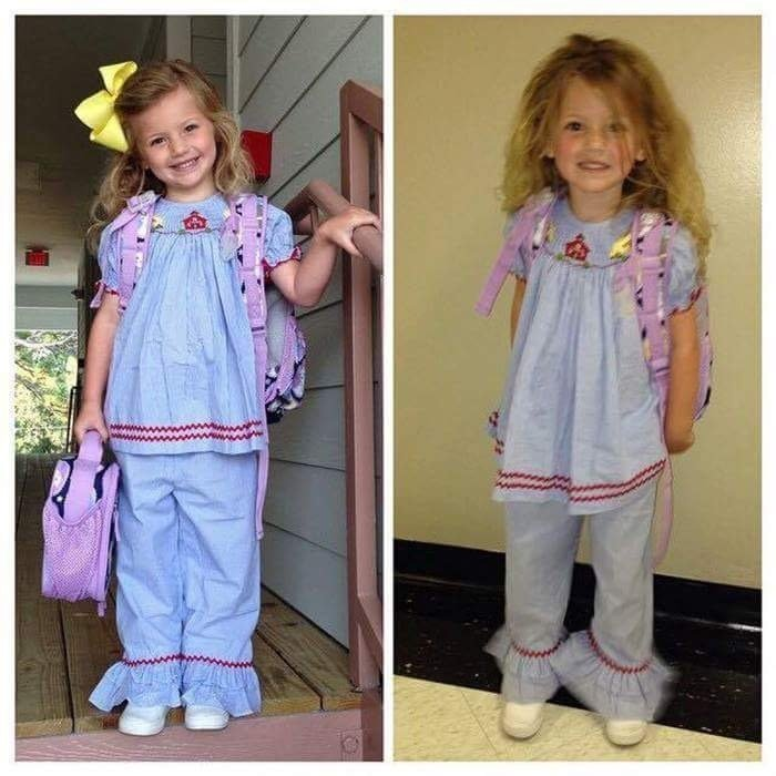 Before And After The First Day Of Pre-k