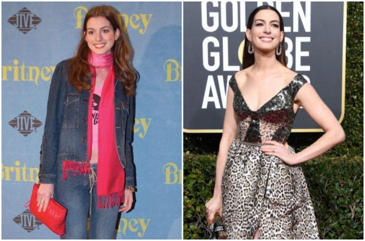 Anne Hathaway a principios del 2000 y ahora