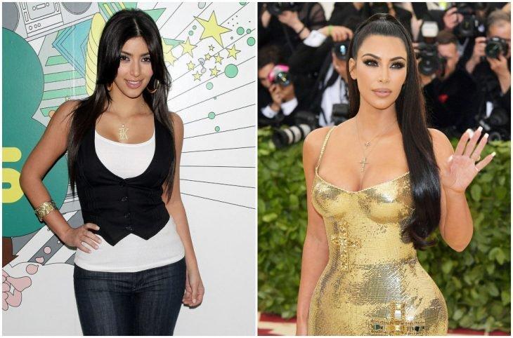 Kim Kardashian a principios del 2000 y ahora