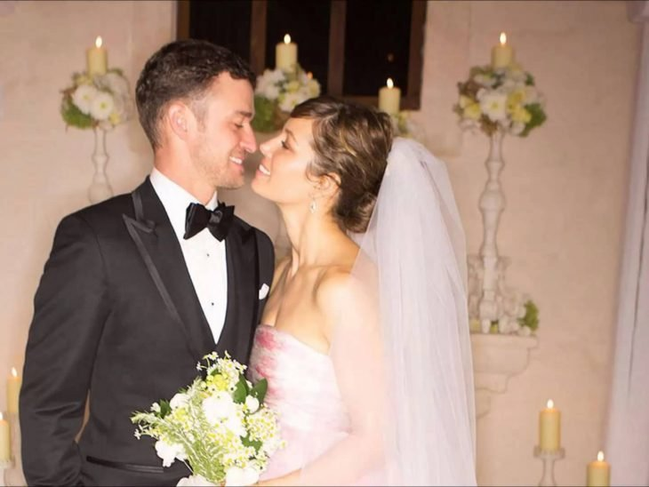 Justin timberlake y su esposa el día de su boda