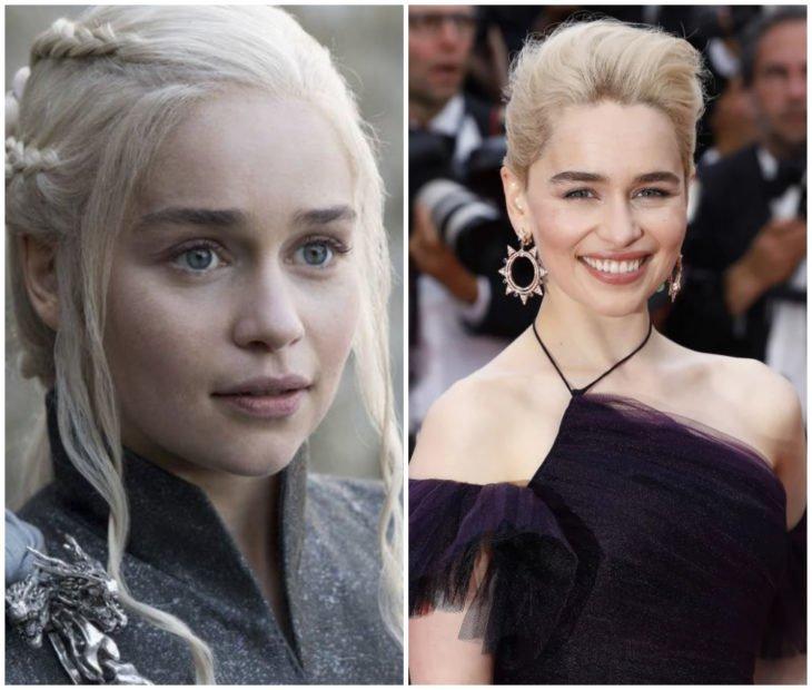 Emilia Clarke sonriendo durante una alfombra roja y en Game of Thrones como Daenerys