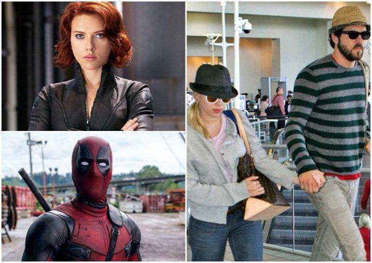 Scarlett Johansson y Ryan Reynolds tomados de la mano paseando en el aeropuerto, tratando de ocultar sus rostros