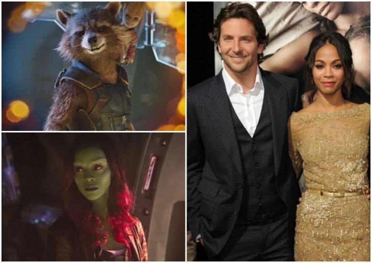 Zoe Saldana y Bradley Cooper tomados de las manos, posando para una fotografía, Gamora, Rocket Raccoon