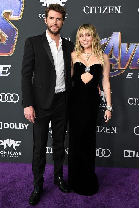 Miley Cyrus y Liam Hemsworth en la premiere de la película Avengers: endgame