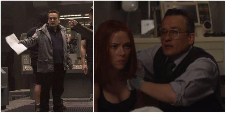 Hombre cuidando a una chica mientras se esconden, escena de la película Capitán América: el primer vengador, Joe Russo