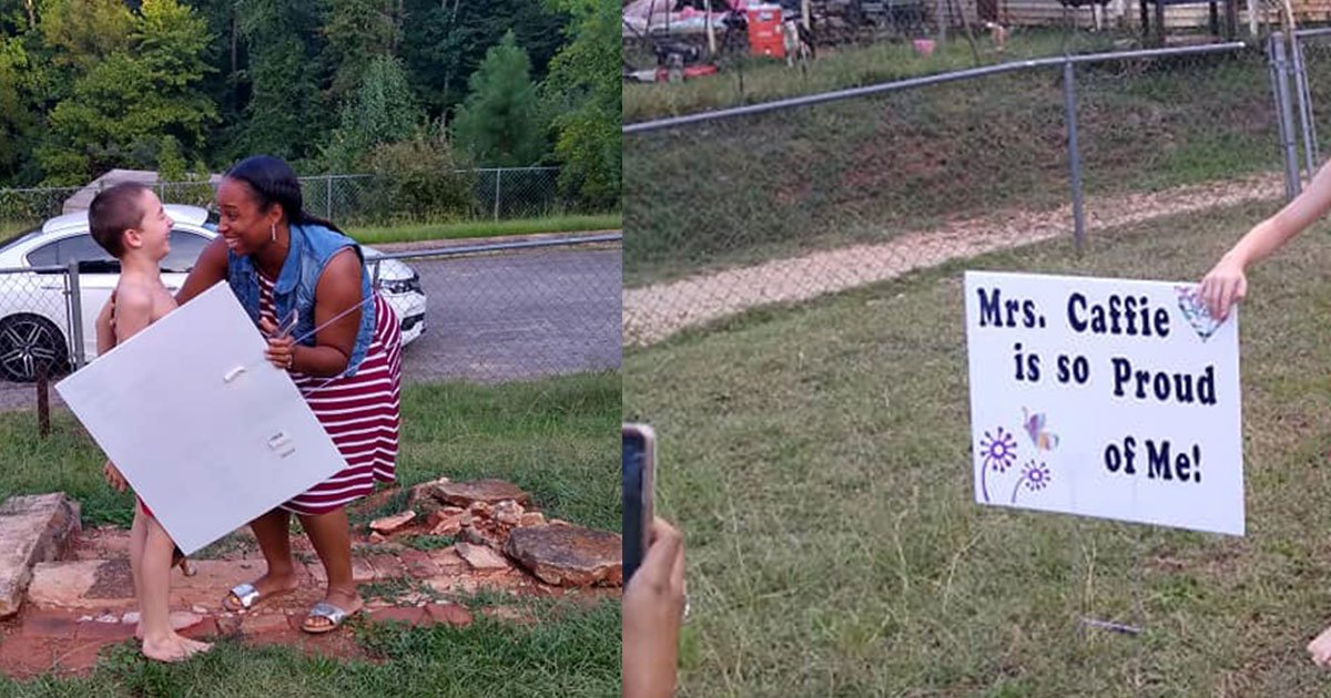 a 3rd grade teacher surprised her students with a yard sign after he earned a perfect score on his reading test.jpg?resize=412,232 - A Teacher Surprised Her Student With A Yard Sign After He Earned Perfect Score On His Reading Test