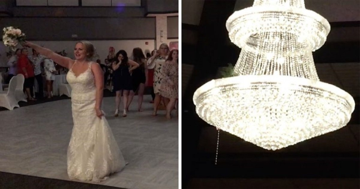 b3 3.jpg?resize=1200,630 - The Awkward Moment When The Bride Threw The Wedding Bouquet Into The Chandelier And Left Everyone Hanging