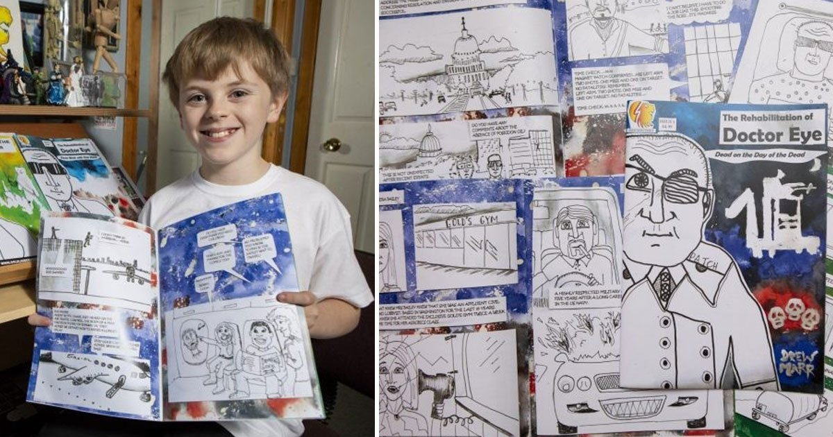 boy sells own crations.jpg?resize=1200,630 - Ten-Year-Old Sells Comic Books Around The World That He Makes In His Bedroom