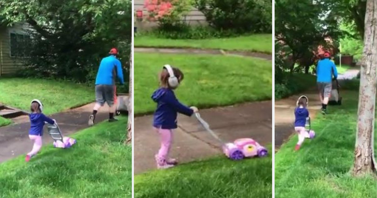 d3 4.png?resize=1200,630 - Little Girl Decided To Join Her Dad Lawn Mowing With Her Own Mower