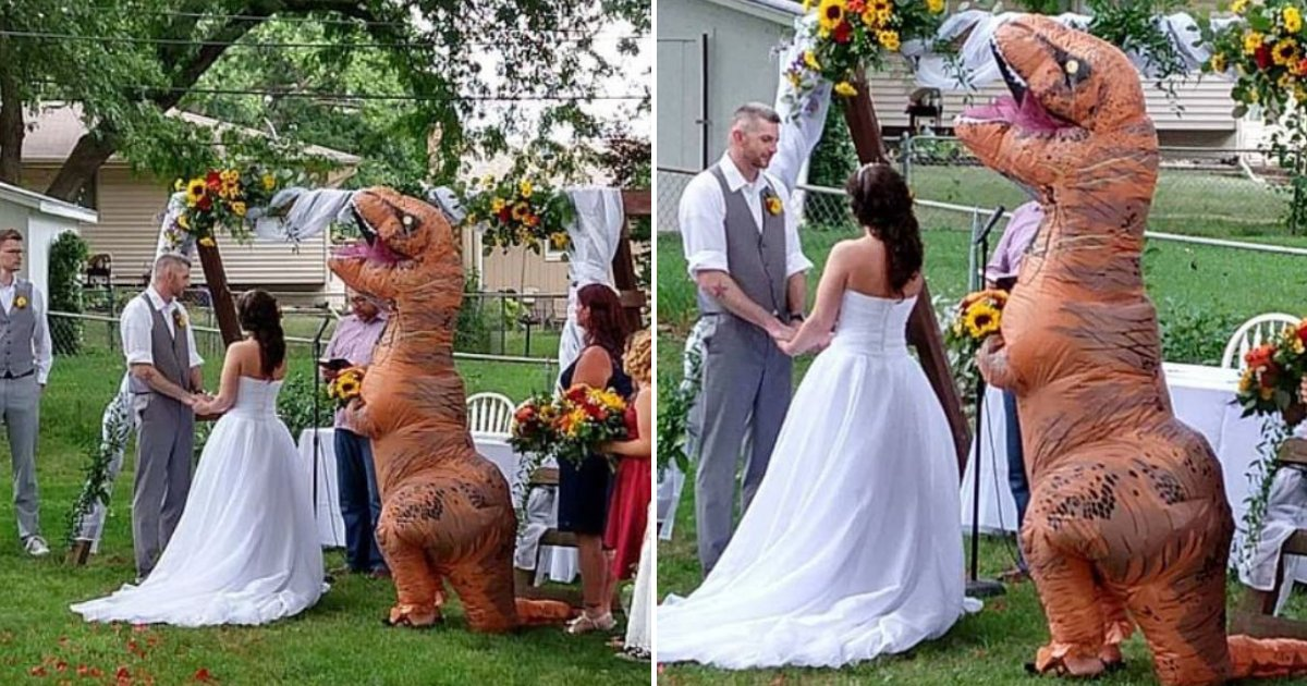 dino7.png?resize=412,232 - Maid Of Honor Showed Up To Sister's Wedding Dressed As A T-Rex After Being Told She Could Wear Anything