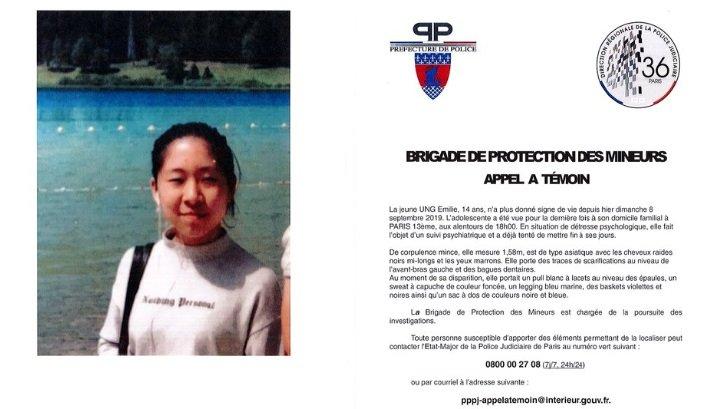 emilie ung.jpg?resize=1200,630 - Alerte Disparition: Émilie Ung une jeune fille de 14 ans a disparu depuis le 8 septembre dernier
