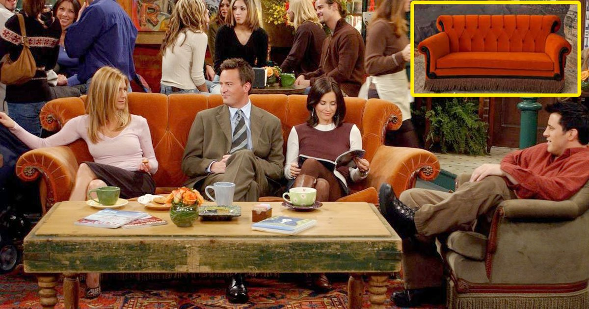 friends famous central perk sofa will appear at famous landmarks.jpg?resize=1200,630 - Friends' Famous Orange Sofa Will Go On Tour To Popular Landmarks Around The World