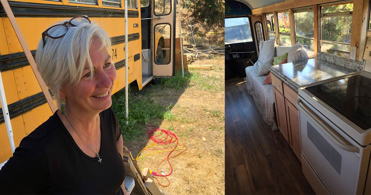 oregon woman turned school buses into tiny homes for working homeless families.jpg?resize=1200,630 - A Woman Turned School Buses Into Tiny Homes For Working Homeless Families