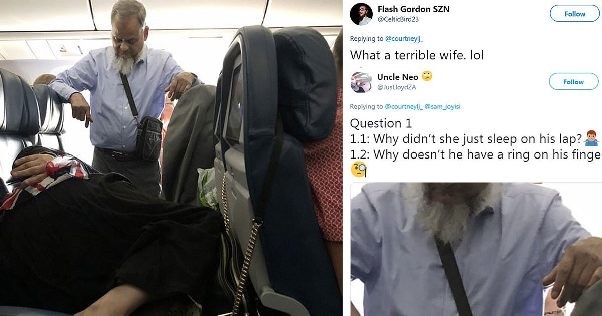 people questioned validity of picture of man standing on a flight for six hours so his wife could sleep on seat.jpg?resize=1200,630 - A Man Allegedly Stood On A Flight For Six Hours So His Wife Could Sleep On The Seats